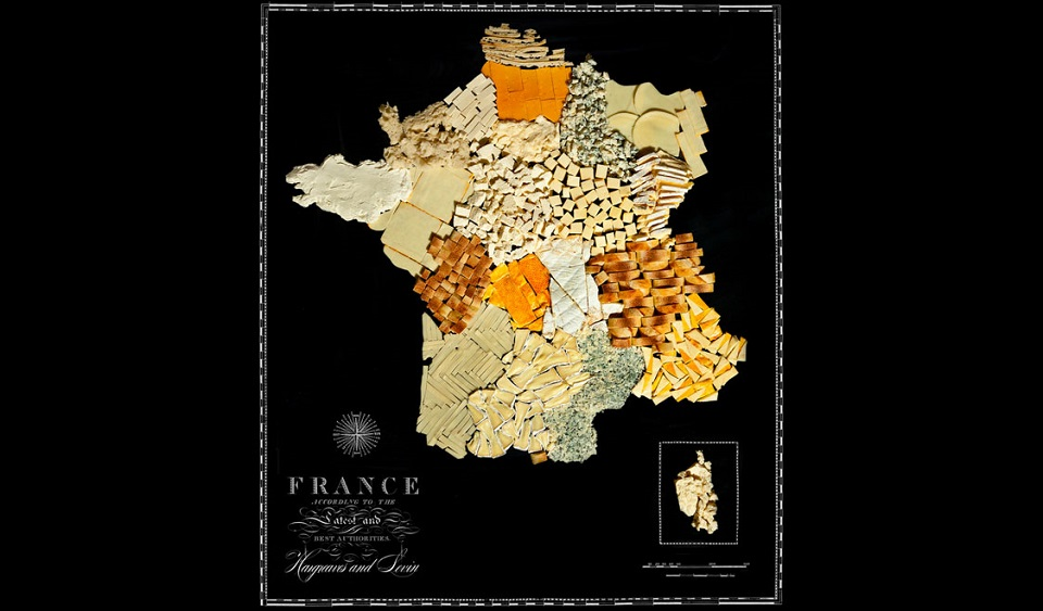 Travel map made of food
